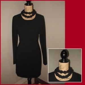 DVF DIANE VON FURSTENBERG Sz 8 Black Sheath Dress